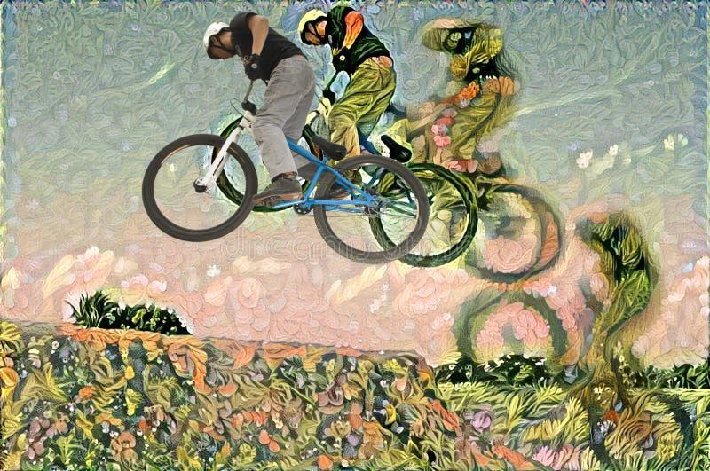 Cyklistkonst stock illustrationer