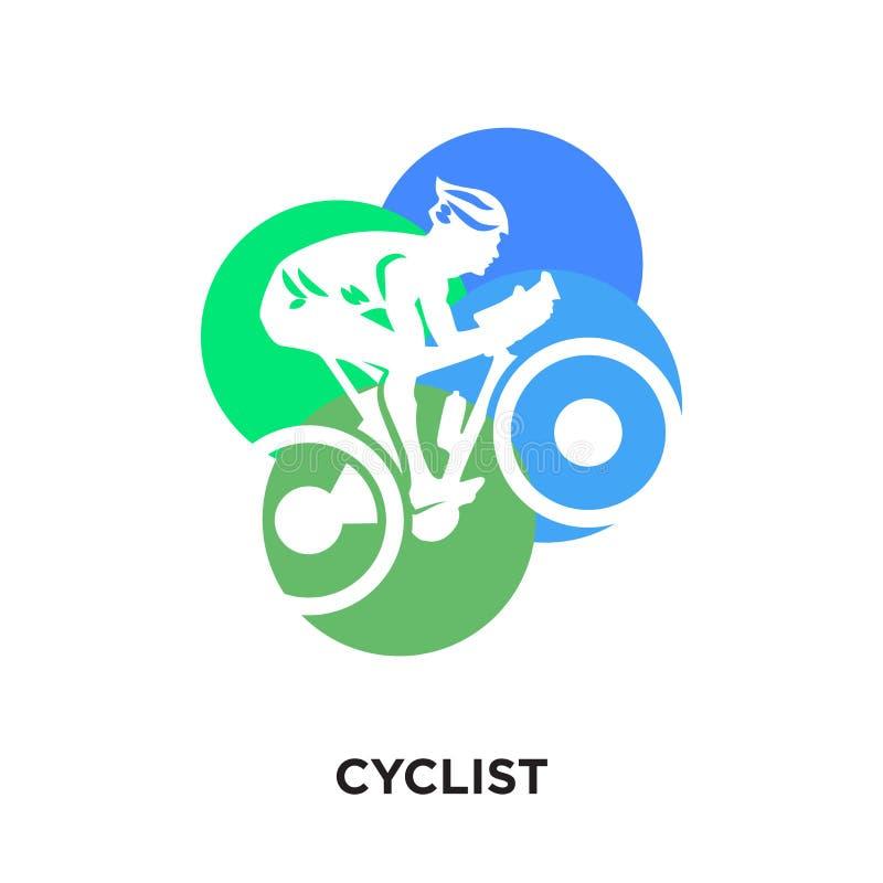 cyklistlogo som isoleras på vit bakgrund för din rengöringsduk, mobilt a vektor illustrationer