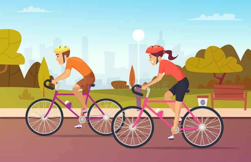 Cyklistman- och kvinnligritter på det stads- parkerar vektor illustrationer