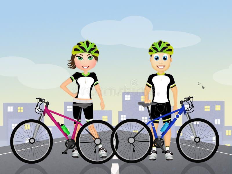 Cyklistpar med cykeln royaltyfri illustrationer