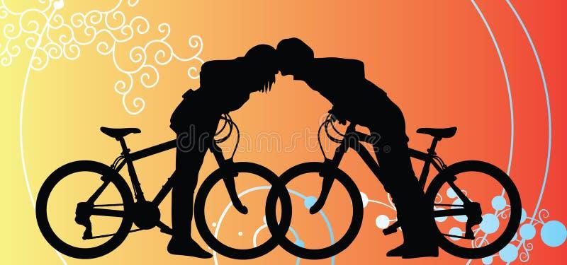 Cyklistpar som älskar att resa på valentinbakgrund stock illustrationer