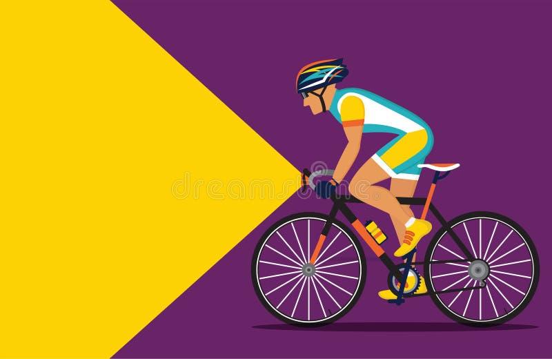 Cyklistridning på natten med en ficklampa på stock illustrationer