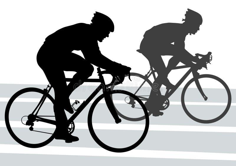 cyklistsilhouette royaltyfri illustrationer