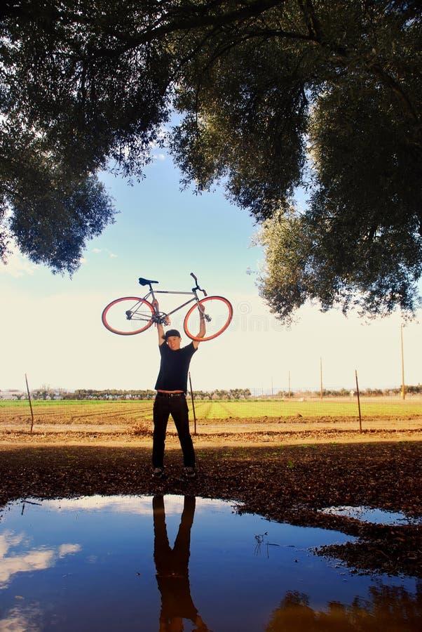 cykliststående arkivbild