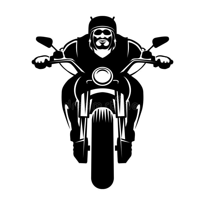Cyklistsymbol man motorcykeln stock illustrationer