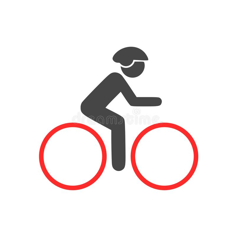 Cyklistsymbolen, mannen på en cykellogo royaltyfri illustrationer