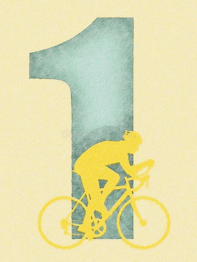cyklistvattenfärg vektor illustrationer