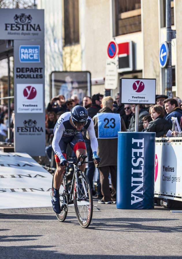 Cyklisty Hinault Sébastien- Paryski Ładny 2013 Prolog W Houi Obraz Editorial