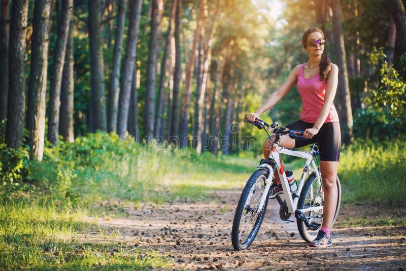 Cyklisty kolarstwa rower górski na Sosnowym lasowym śladzie obrazy stock