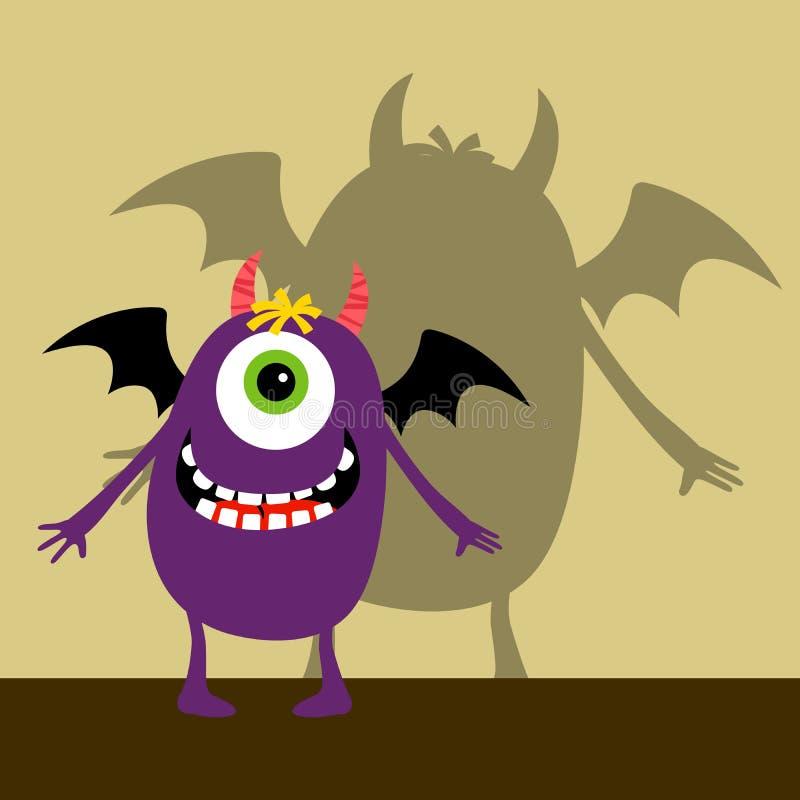 Cyklopa fiołkowy szczęśliwy potwór royalty ilustracja