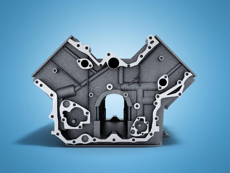 Cylinder block from car with v6 engine 3d render on a blue background stock illustration