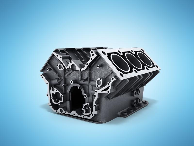 Cylinder block from car with v6 engine 3d render on a blue background vector illustration
