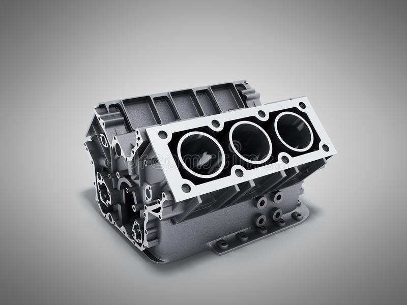 Cylinder block from car with v6 engine 3d render on a grey background stock illustration