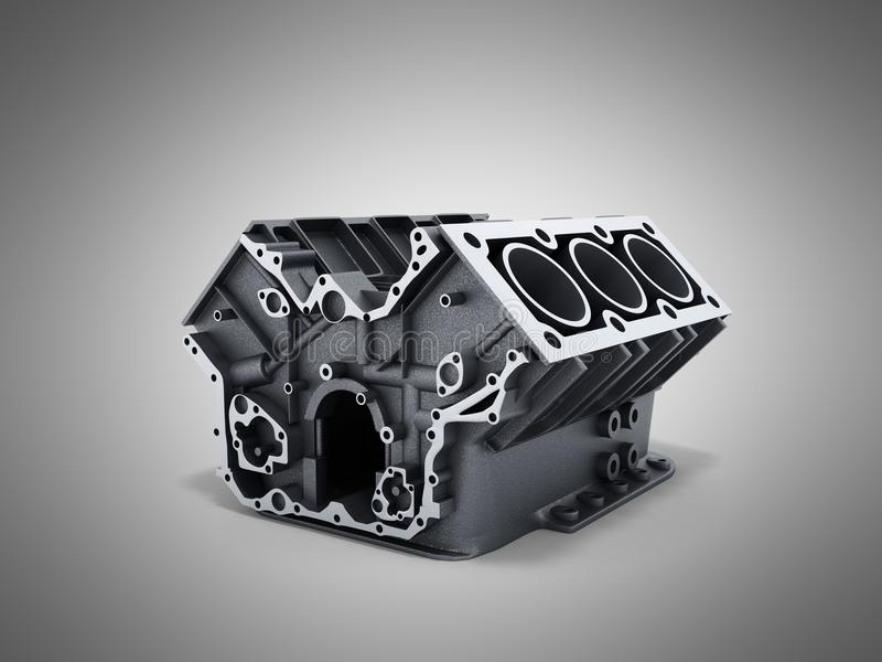 Cylinder block from car with v6 engine 3d render on a grwy background stock illustration