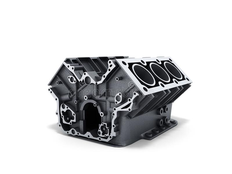Cylinder block from car with v6 engine 3d render on a white back. Ground vector illustration
