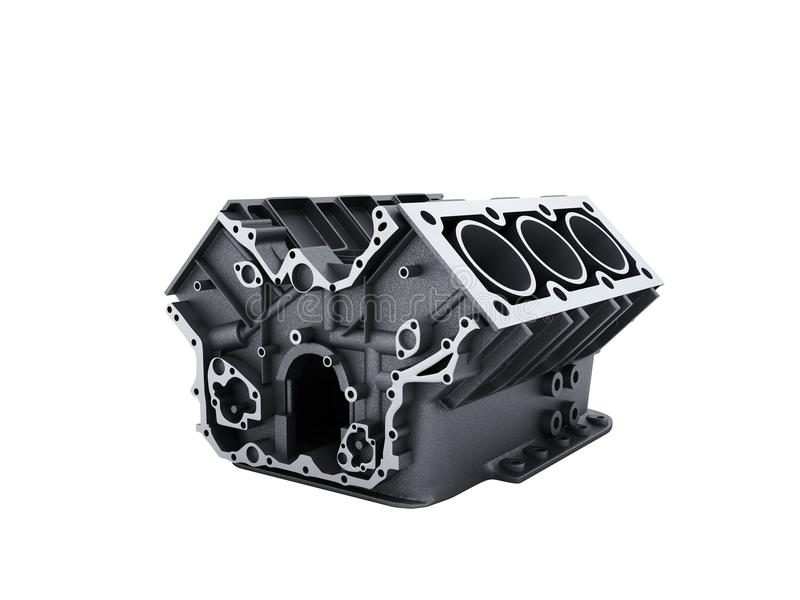 Cylinder block from car with v6 engine 3d render on a white back. Ground no shadow vector illustration