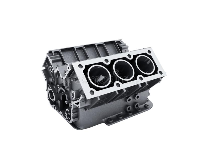 Cylinder block from car with v6 engine 3d render on a white no s. Hadow vector illustration