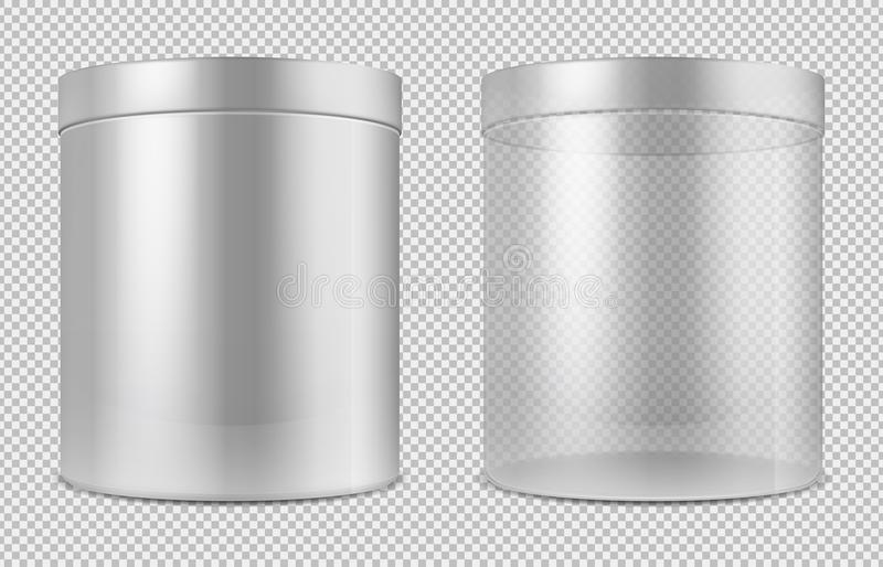 Cylinder empty transparent glass and white cans. Package for food, cookies and gifts vector template isolated royalty free illustration