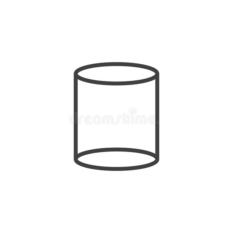 Cylinder geometrical figure outline icon. Linear style sign for mobile concept and web design. Cylinder geometric shape simple line vector icon. Symbol logo royalty free illustration