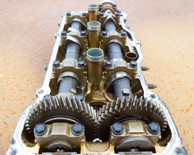 Cylinder Head And Bent Shaft, Broken Engine Car Parts Stock Image ...