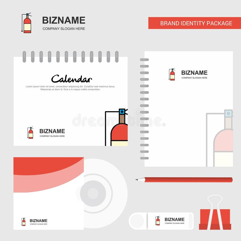 Cylinder Logo, Calendar Template, CD Cover, Diary and USB Brand Stationary Package Design Vector Template royalty free illustration