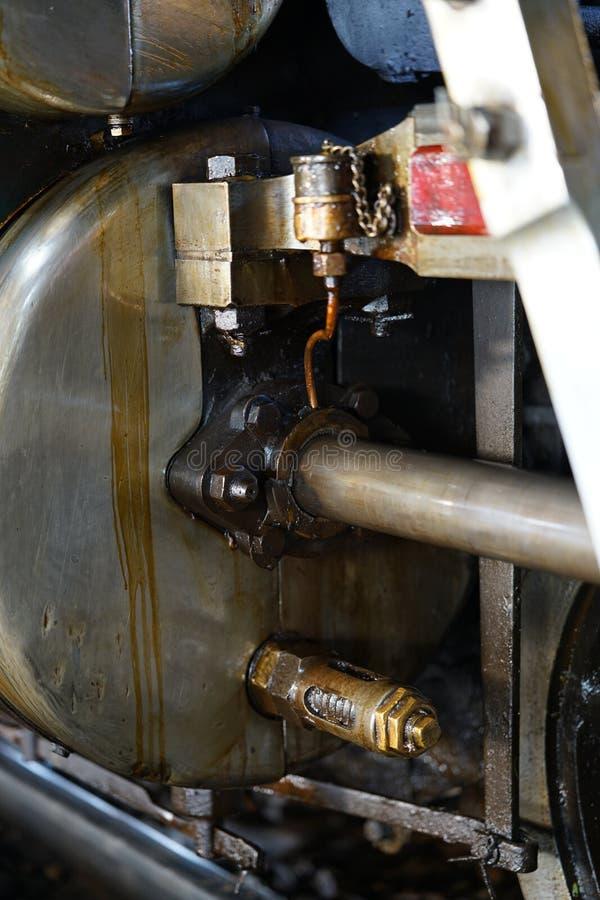 Cylinder och kolv på ett ånglok tillverkat i Japan fotografering för bildbyråer