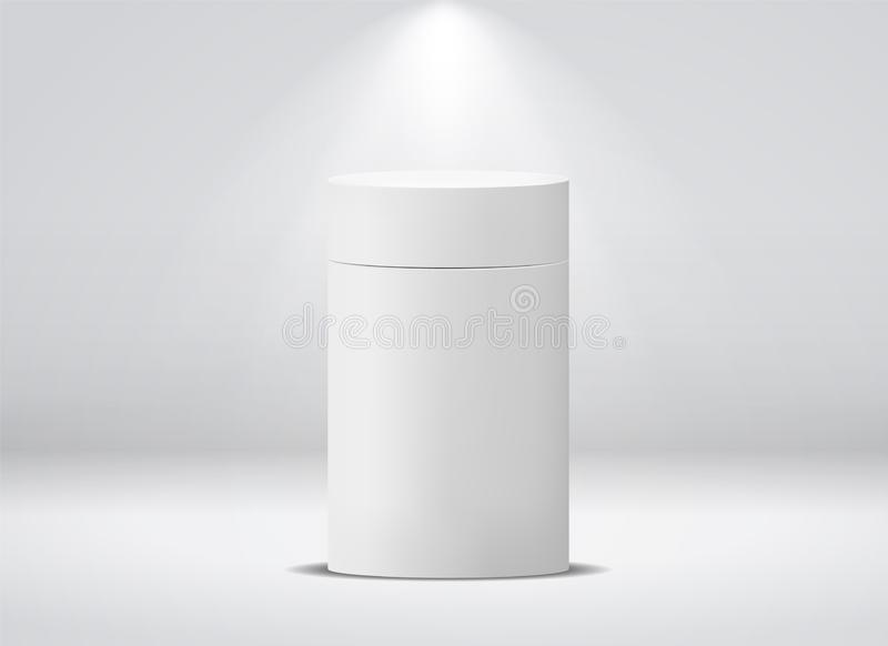 Cylinder package. White round empty paper box for food soup tea coffee vector isolated canister mockup royalty free illustration