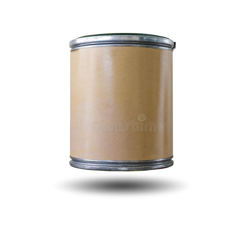 Cylinder paper box. With aluminum edge for inserts and chairs as well on white background with clipping path royalty free stock photography