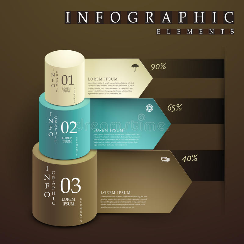 Cylinder and paper label infographic elements. Vector abstract cylinder and paper label infographic elements royalty free illustration