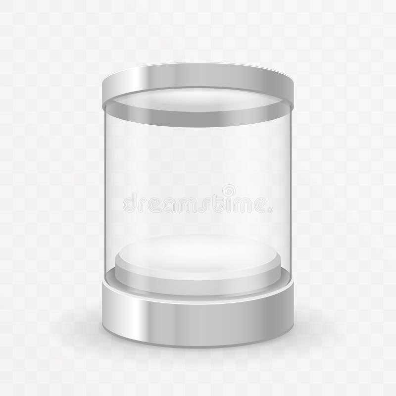 Cylinder round glass showcase box isolated 3d realistic shop mockup transparent background design vector illustration royalty free illustration