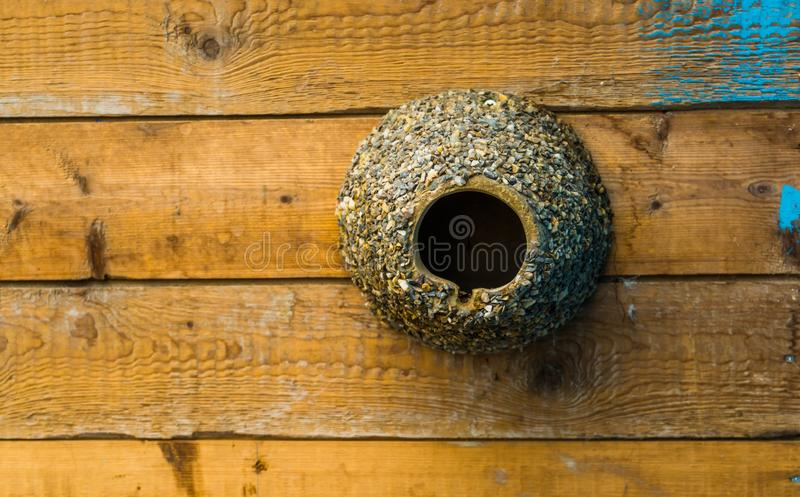 Cylinder shaped bird house decorated with pebble stones, bird home hanging on a wooden wall royalty free stock photos
