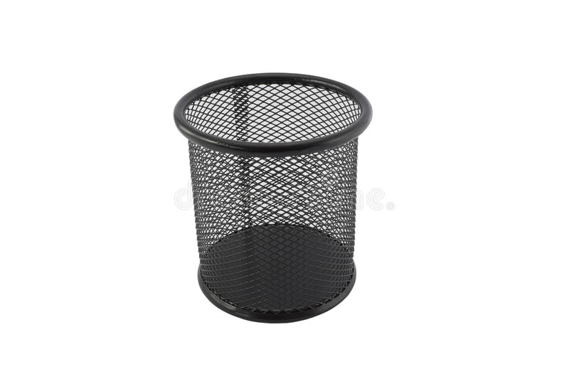 Cylinder shaped metal net box pencil holder. Isolated on white with clipping path stock images