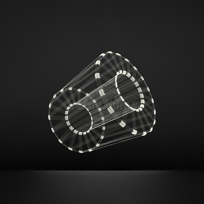 cylinder Specificera av mekanismen struktur för anslutning 3D Geometrisk beståndsdel för galler för design Polygonal beståndsdel  royaltyfri illustrationer