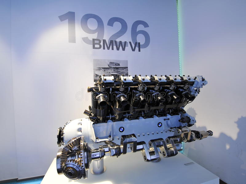 12 cylinders BMW VI engine on display in BMW Museum stock photography