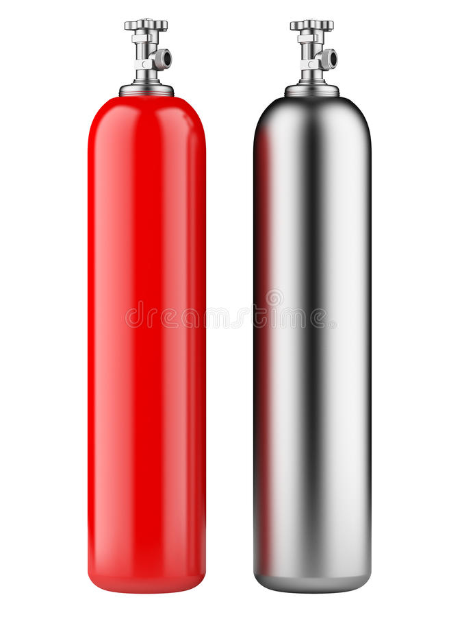 Cylinders with compressed gas. Red and metallic propane cylinders with compressed gas isolated on a white background royalty free illustration