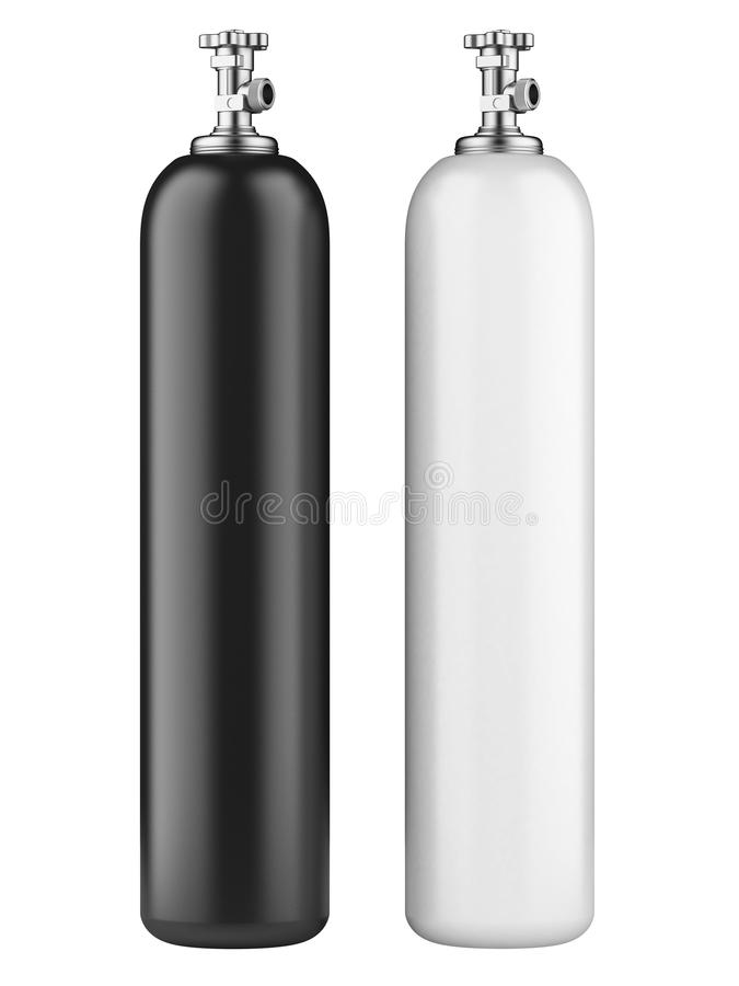 Cylinders with compressed gas. White and black propane cylinders with compressed gas isolated on a white background stock illustration