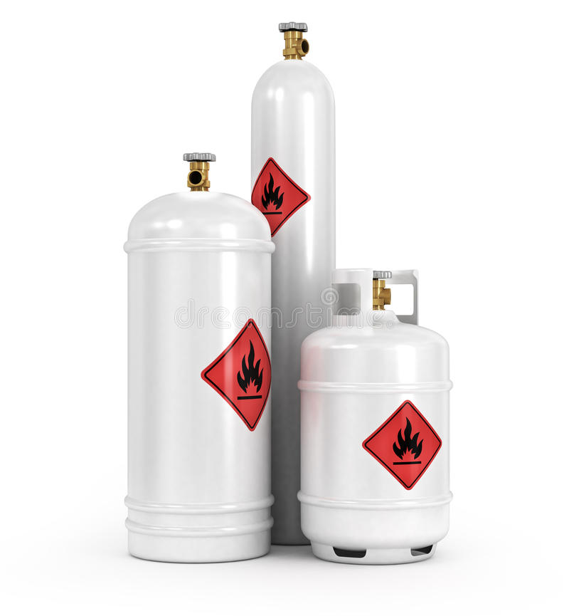 Cylinders with the compressed gases. On a white background stock illustration