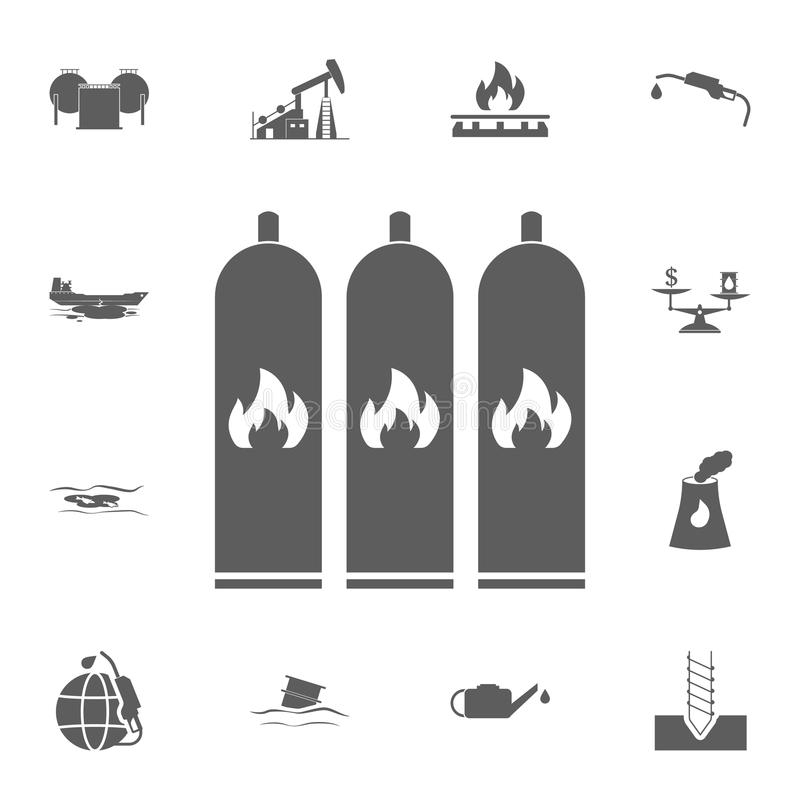 cylinders with a flammable substance icon. Detailed set of Oil icons. Premium quality graphic design sign. One of the collection i stock illustration