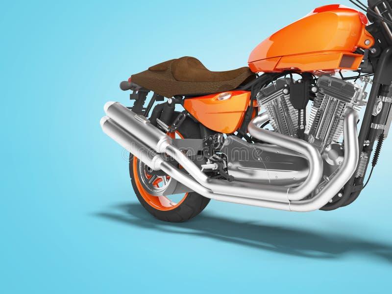 Cylindrar 3d för motorcykel två för begrepp snabba orange att framföra på blå bakgrund med skugga vektor illustrationer