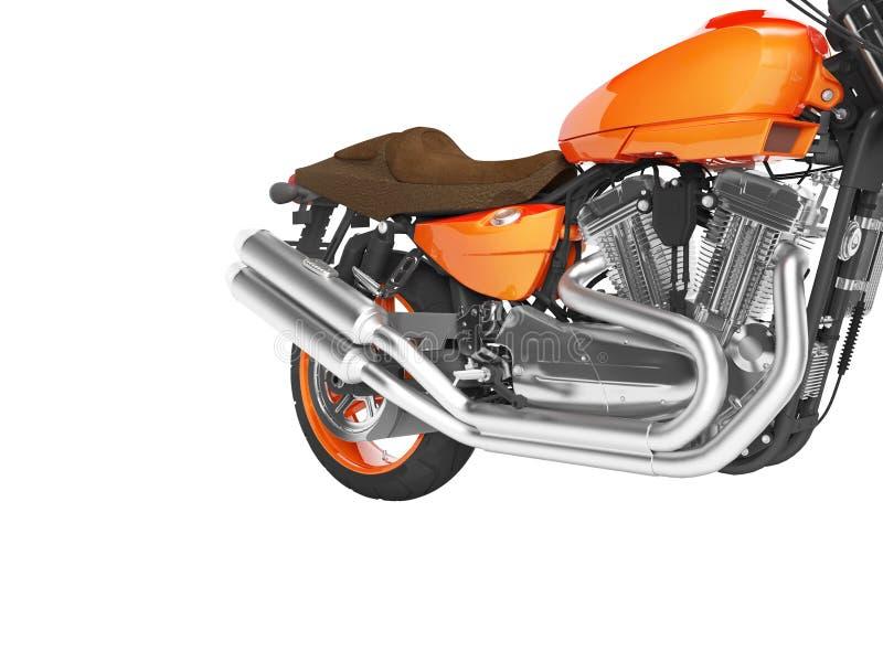Cylindrar 3d för motorcykel två för begrepp snabba orange att framföra på vit bakgrund ingen skugga royaltyfri illustrationer