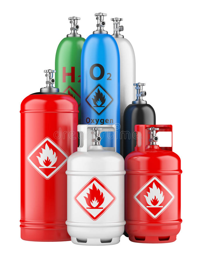 Cylindrar med komprimerad gas royaltyfri illustrationer