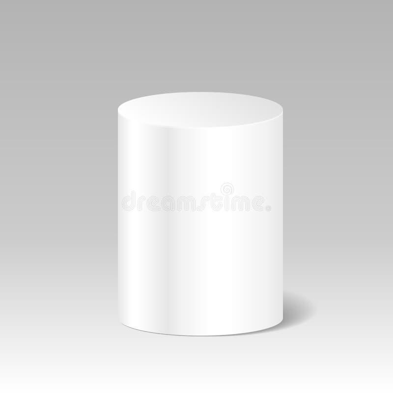 Cylindre blanc vide réaliste Moquerie de boîte de paquet de produit  sta illustration stock