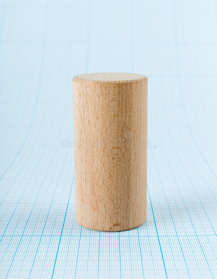 Cylindre géométrique en bois de forme image stock
