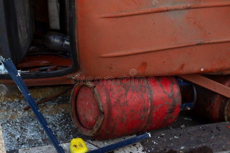 Cylindre sous le camion dans des situations dures photo stock
