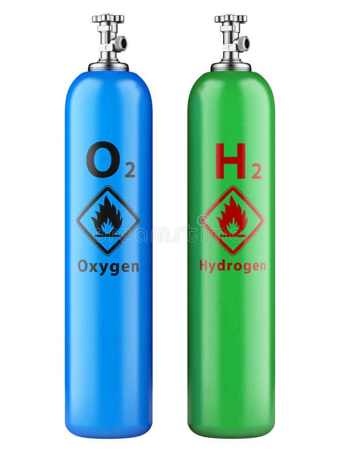 Cylindres d'hydrogène et d'oxygène avec le gaz comprimé images stock