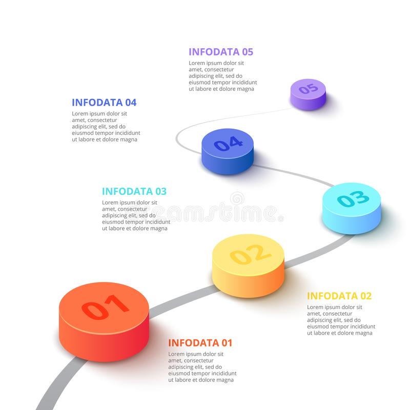 Cylindres de gradient de vecteur Calibre d'affaires pour la pr?sentation Concept créatif pour infographic avec 5 étapes, options illustration libre de droits