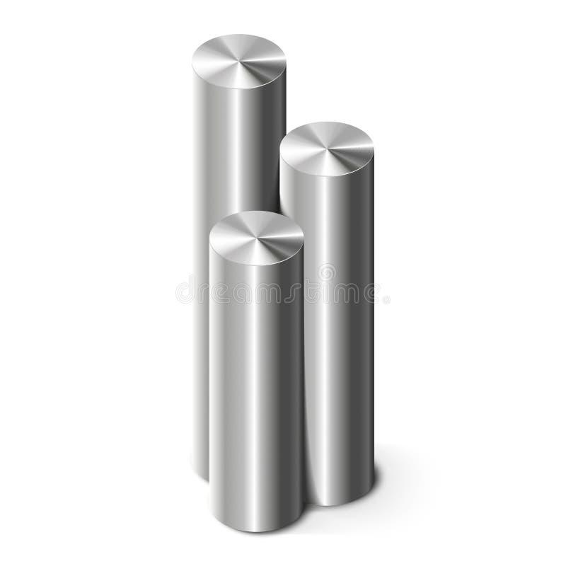 Cylindres en métal sur le blanc illustration libre de droits
