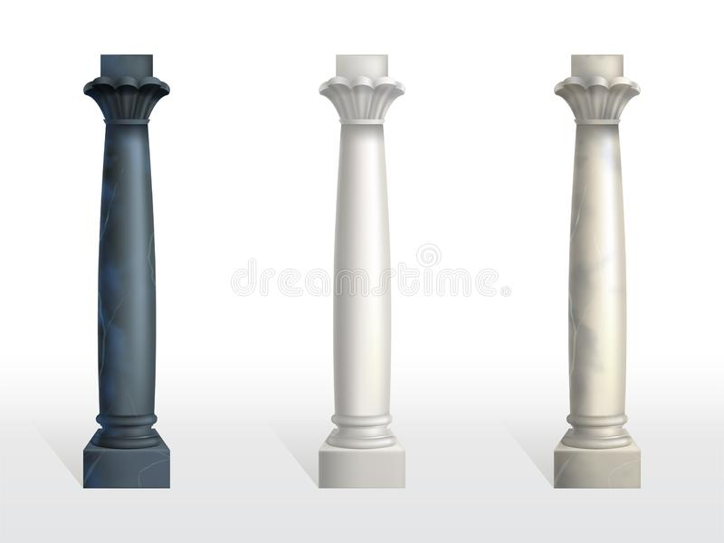 Color marble stone columns realistic vector set royalty free illustration