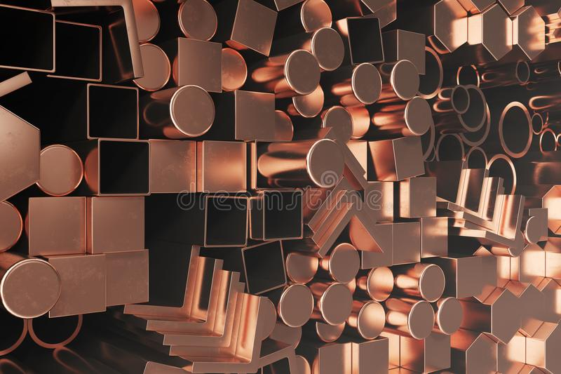 Cylindrical copper steel profiles, hexagonal copper steel profiles, square copper steel profiles. Different copper steel. Products. 3D illustration stock illustration