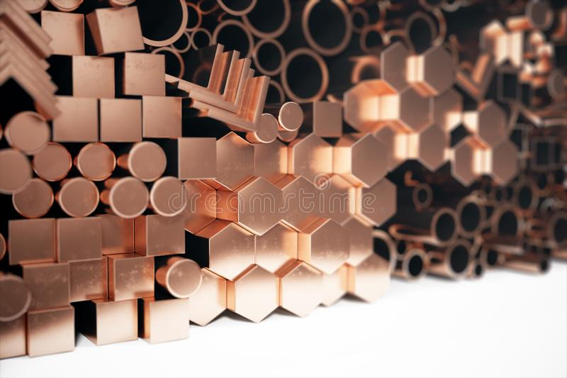 Cylindrical copper steel profiles, hexagonal copper steel profiles, square copper steel profiles. Different copper steel. Products. 3D illustration vector illustration
